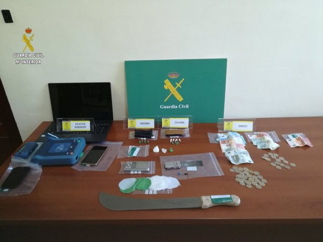 Material intervenido por la Guardia Civil
