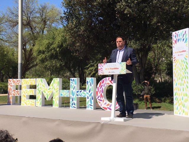 El vicepresidente Oriol Junqueras en un acto de ERC en Barcelona