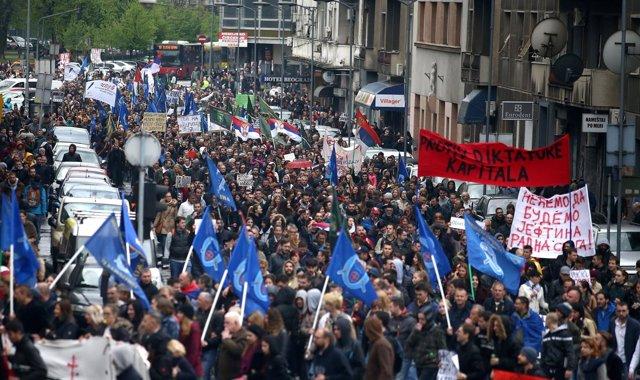 Protestas en Serbia contra el gobierno de Vucic