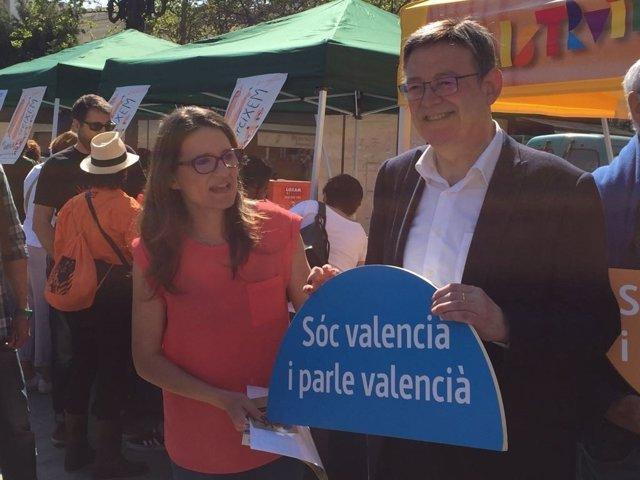 Puig y Oltra han reivindicado la escuela en valenciano en las Trobades