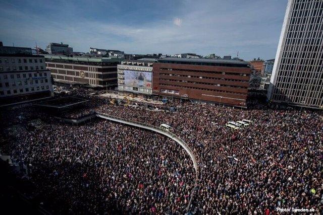 Concentración tras el atentado de Estocolmo