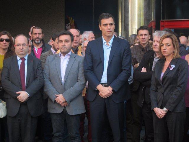 M.Iceta (PSC) M.Carnero (UGT) Pedro Sánchez (PSOE) C.Chacón (PSC)