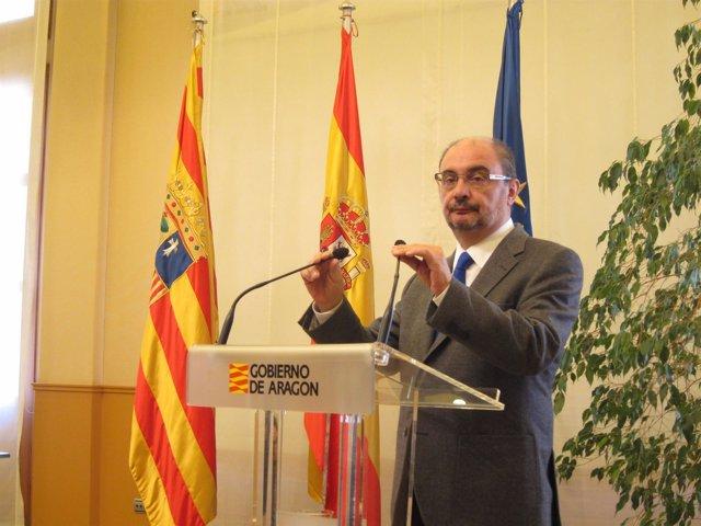El presidente de Aragón, Javier Lambán, en un acto hoy en el edificio Pignatelli