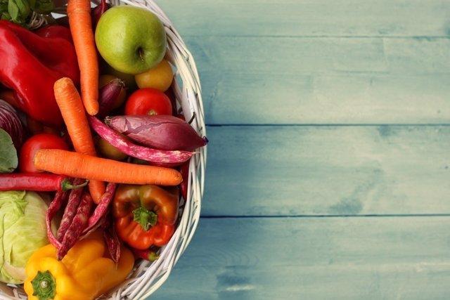 Comida, verduras, fruta, saludable, pimientos, manzana, zanahorias