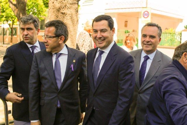 Juanma Moreno, hoy junto a Juan Bueno y Alberto Díaz