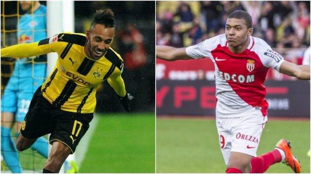 Aubameyang y Mbappé antes del Borussia Dortmund - Mónaco