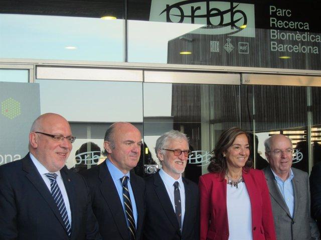 J.Baiget, L.De Guindos, I.Mattaj, C.Vela, J.Camí presentan sede EMBL