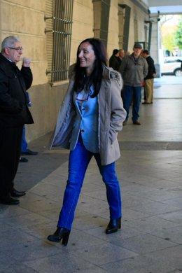 María Núñez Bolaños llegando a los juzgados de Sevilla