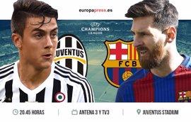 Horario y dónde ver el Juventus – Barcelona | Ida Cuartos de Final Champions League 2017