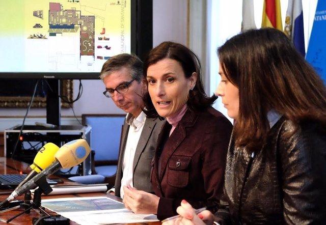 César Díaz, Gema Igual y Miriam Díez, en rueda de prensa