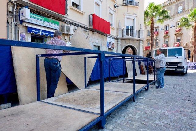 Reparación en los palcos de Huelva.