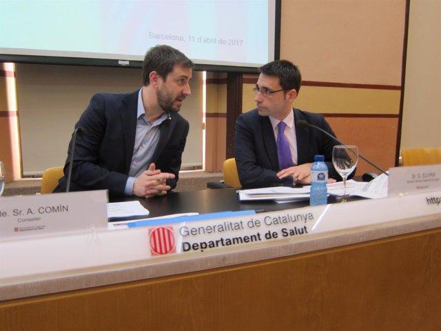 El conseller de Salud, Toni Comín, y el director del CatSalut, David Elvira