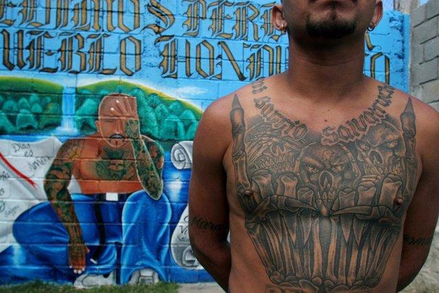 Un miembro de la 'Mara Salvatrucha' en Honduras