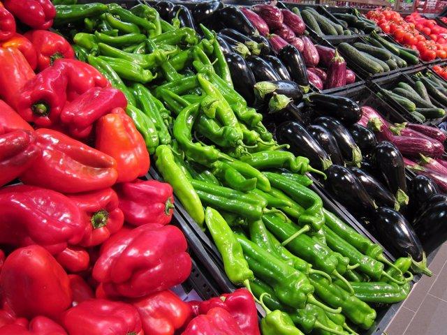 Pimientos, berenjenas, verdura, hortalizas, supermercado, consumo, IPC