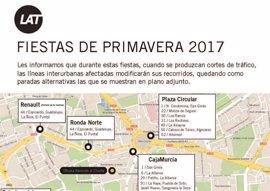 Los autobuses interurbanos adaptan sus horarios durante las Fiestas de Primavera de Murcia