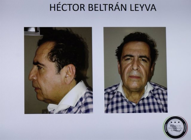 Pictures of head of Beltran Leyva drug cartel Hector Beltran Leyva are seen disp