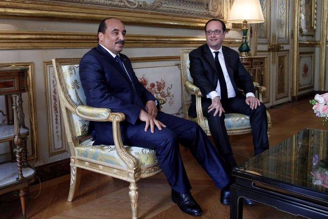 Presidente de Francia Francois Hollande y de Mauritania, Mohamed Uld Abdelaziz