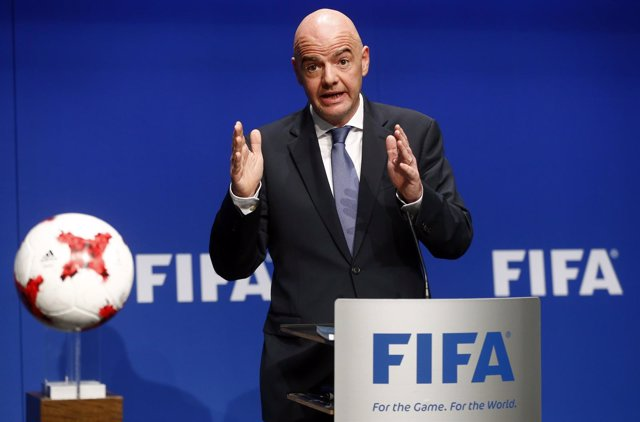 FIFA President Gianni Infantino addresses a news conference after a FIFA Council