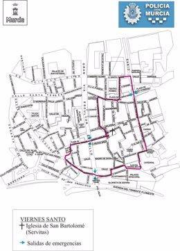 Itinerario procesión Cofradía de Servitas el Viernes Santo