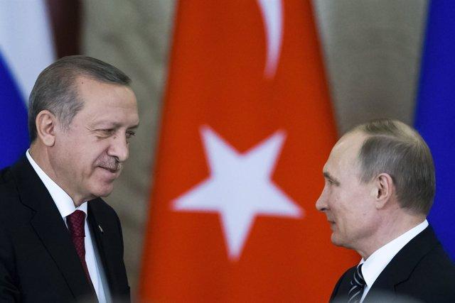 Vladimir Putin y Recep Tayyip Erdogan - Marzo de 2017