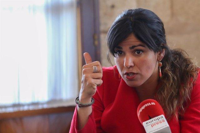 La líder de Podemos Andalucía, Teresa Rodríguez, durante la entrevista