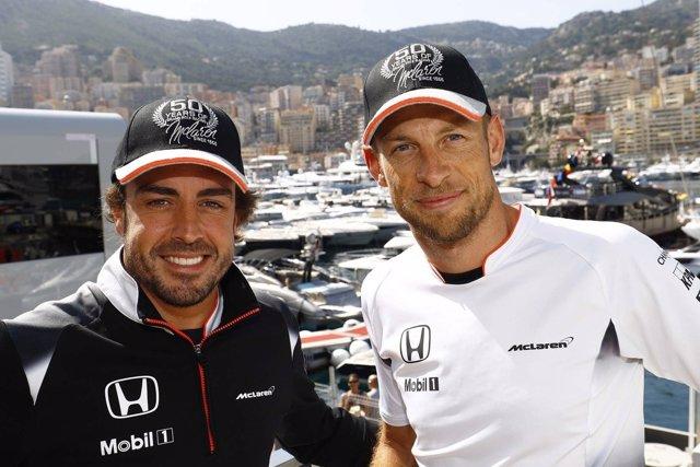 Fernando Alonso y Jenson Button, 2016 Monaco GP
