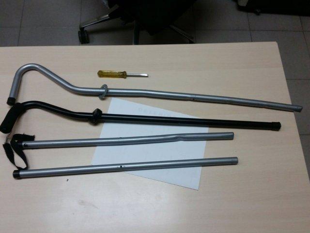 Instrumentos intervenidos tras los incidentes en la Madrugá de Sevilla