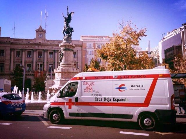 Ambulancia de Soporte Vital Básico de Cruz Roja Zaragoza