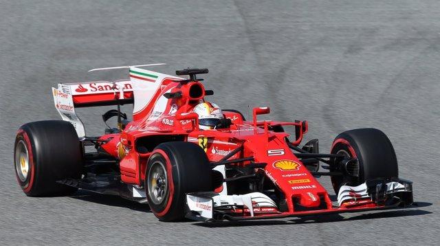Sebastian Vettel en los test de Montmeló
