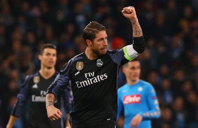 Sergio Ramos tras marcar en San Paolo ante el Nápoles