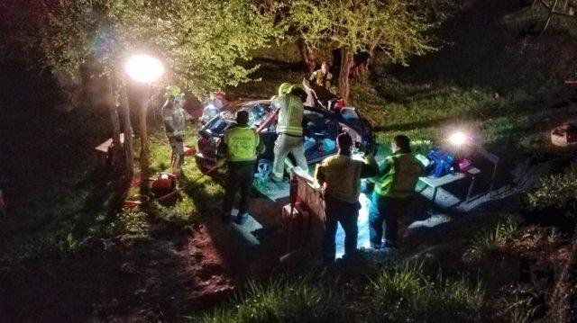 Imagen del accidente captada por los Bomberos de Logroño