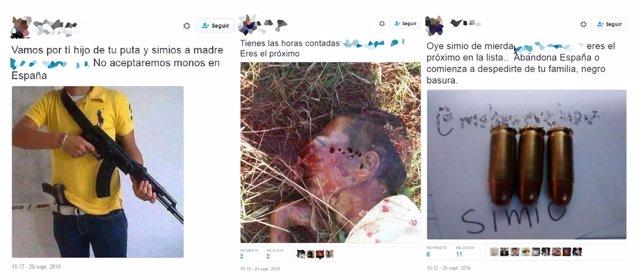 Imágenes de los tuits que recibió el activista