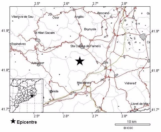 Seísmo en La Selva de magnitud 3,8