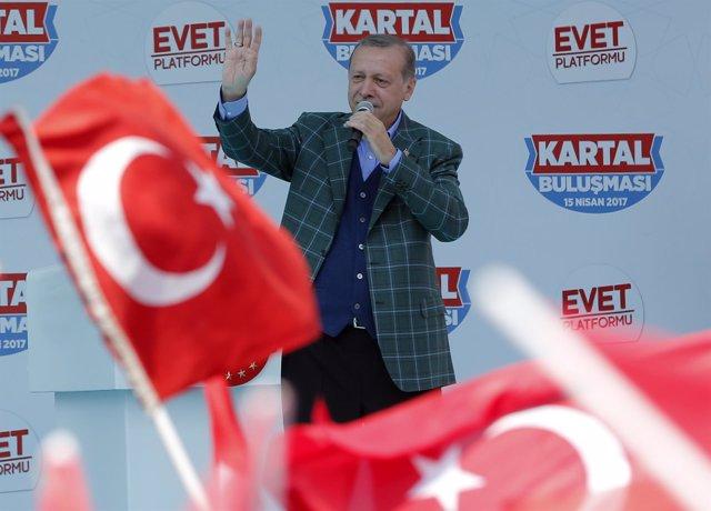 El presidente turco, Recep Tayyip Erdogan, durante un acto político