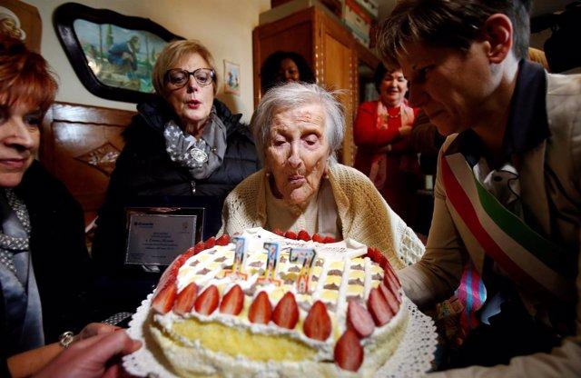 Emma Morano en su 117 cumpleaños