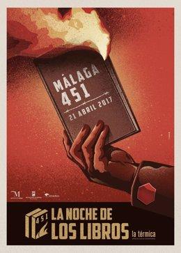 Cartel malaga 451 noche de los libros 2017 la térmica