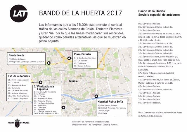 Horarios especiales de las líneas de autobuses interurbanos durante el Bando