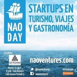 Cartel Jornada organizada por 'Nao Ventures' sobre Startups