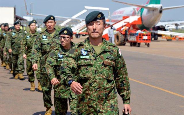 Soldados japoneses de la UNMISS llegan a Yuba