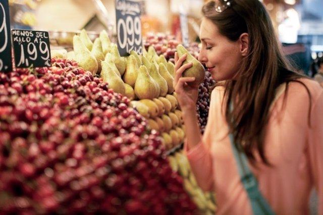 Mercado, frutas, mujer