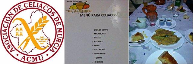 Menú celíacos, peña huertana, Asociación Celíacos de Murcia (ACMU)