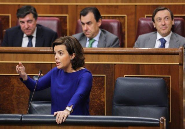 Soraya Sáenz de Santamaría en la sesión de control al Gobierno en el Congreso