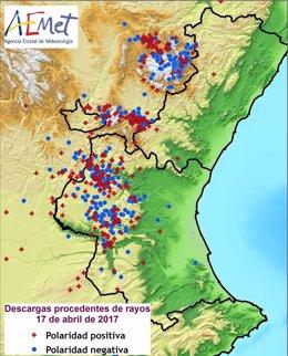Mapa de rayos en la Comunitat Valenciana