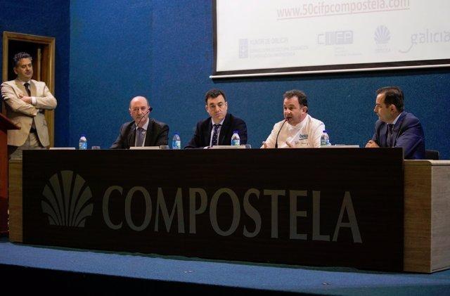 Berasategui y Román Rodríguez en el 50 aniversario CIFP Compostela