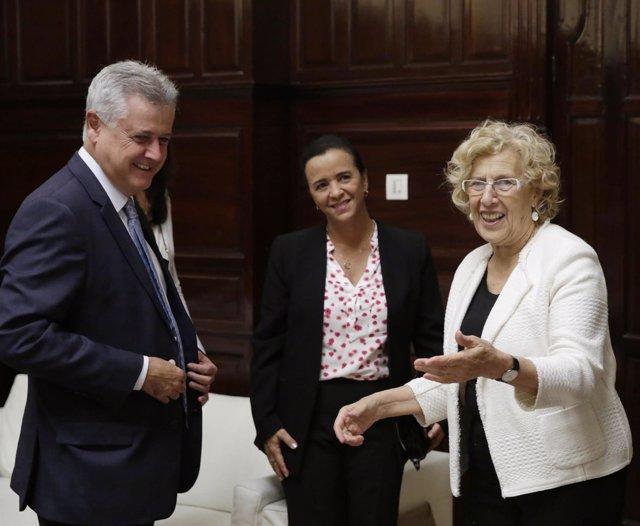 Carmena y el gobernador de Brasilia
