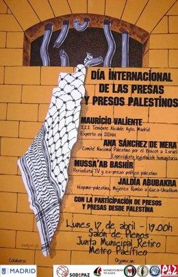 """Cartel  acto """"día Internacional de los presos y presas palestinos"""""""