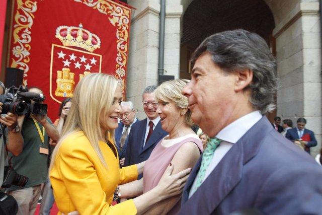 Cristina Cifuentes, Ignacio González y Esperanza Aguirre en la toma de posesión