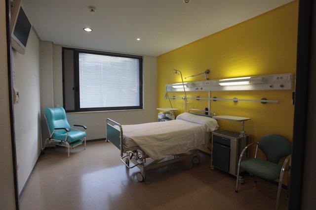 Habitación individual en el Hospital de Calahorra.
