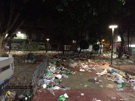 El Servicio de Limpieza Viaria recoge durante el Día del Bando de la Huerta 87 toneladas de residuos