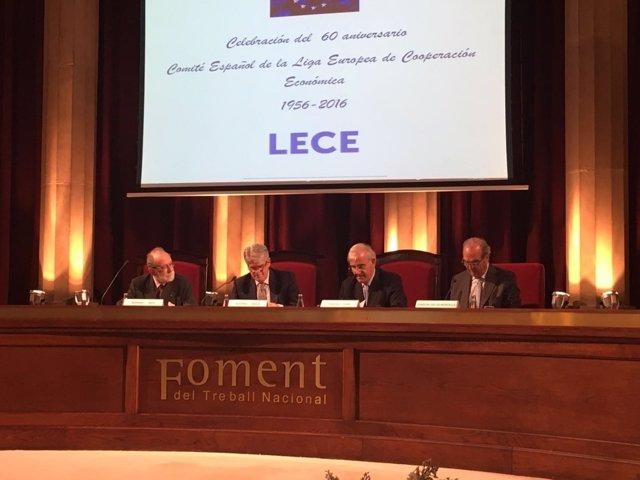 Ministro A.Dastis, J.Gay de Montellà (Fomento del Trabajo) F.Homs (Lece)